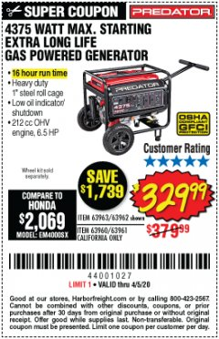 Harbor Freight Coupon 4375 MAX STARTING/3500 RUNNING WATTS, 6.5 HP (212CC) GAS GENERATOR Lot No. 63962/63963/63960/63961 Expired: 6/30/20 - $329.99