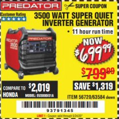 Harbor Freight Coupon 4375 MAX STARTING/3500 RUNNING WATTS, 6.5 HP (212CC) GAS GENERATOR Lot No. 63962/63963/63960/63961 Expired: 5/25/20 - $699.99