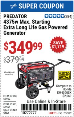 Harbor Freight Coupon 4375 MAX STARTING/3500 RUNNING WATTS, 6.5 HP (212CC) GAS GENERATOR Lot No. 63962/63963/63960/63961 Expired: 7/5/20 - $349.99