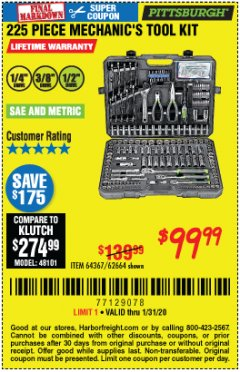 Harbor Freight Coupon 225 PIECE MECHANIC'S TOOL KIT Lot No. 64367/62664 Expired: 1/31/20 - $99.99