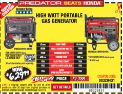 Harbor Freight Coupon 9000 PEAK / 7250 RUNNING WATTS, 13 HP (420 CC) GAS GENERATOR Lot No. 63970/63971/63968/63969 EXPIRES: 5/31/19 - $629.99