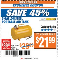 Harbor Freight ITC Coupon 5 GALLON PORTABLE AIR TANK Lot No. 69716/63605/65594 Expired: 12/4/18 - $21.99