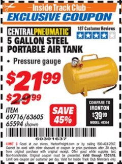 Harbor Freight ITC Coupon 5 GALLON PORTABLE AIR TANK Lot No. 69716/63605/65594 Expired: 12/31/18 - $21.99