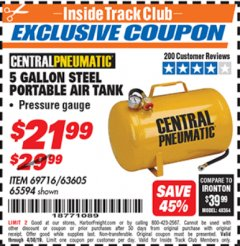 Harbor Freight ITC Coupon 5 GALLON PORTABLE AIR TANK Lot No. 69716/63605/65594 Expired: 4/30/19 - $21.99