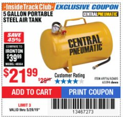 Harbor Freight ITC Coupon 5 GALLON PORTABLE AIR TANK Lot No. 69716/63605/65594 Expired: 5/28/19 - $21.99