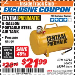 Harbor Freight ITC Coupon 5 GALLON PORTABLE AIR TANK Lot No. 69716/63605/65594 Expired: 2/29/20 - $21.99