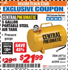 Harbor Freight ITC Coupon 5 GALLON PORTABLE AIR TANK Lot No. 69716/63605/65594 Expired: 4/30/20 - $21.99