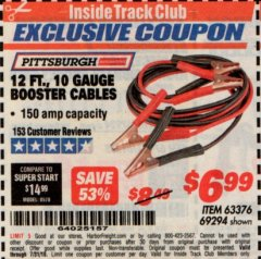 Harbor Freight ITC Coupon 12 FT., 10 GAUGE BOOSTER CABLES Lot No. 63376/69294 Expired: 7/31/19 - $6.99