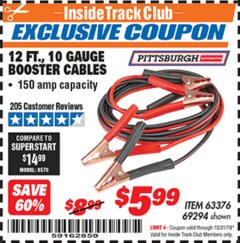 Harbor Freight ITC Coupon 12 FT., 10 GAUGE BOOSTER CABLES Lot No. 63376/69294 Expired: 10/31/19 - $5.99