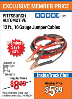 Harbor Freight ITC Coupon 12 FT., 10 GAUGE BOOSTER CABLES Lot No. 63376/69294 Expired: 10/31/20 - $5.99
