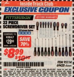 Harbor Freight ITC Coupon 22 PIECE SCREWDRIVER SET Lot No. 69420/95114 Expired: 7/31/19 - $8.99