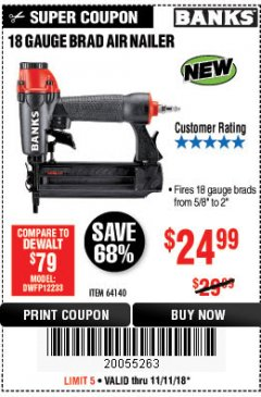 Harbor Freight Coupon 18 GAUGE BRAD AIR NAILER Lot No. 64140 Expired: 11/11/18 - $24.99
