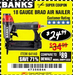 Harbor Freight Coupon 18 GAUGE BRAD AIR NAILER Lot No. 64140 Valid Thru: 1/24/20 - $24.99