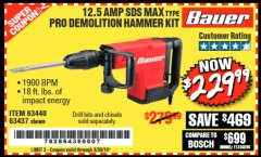 Harbor Freight Coupon BAUER 12.5 AMP SDS MAX TYPE PRO HAMMER KIT Lot No. 63440/63437 Expired: 3/30/19 - $229.99