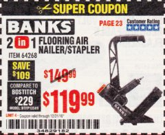 Harbor Freight Coupon 2 IN 1 FLOORING AIR NAILER/STAPLER Lot No. 64268 Expired: 12/31/18 - $119.99