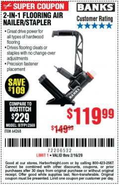 Harbor Freight Coupon 2 IN 1 FLOORING AIR NAILER/STAPLER Lot No. 64268 Expired: 2/16/20 - $119.99