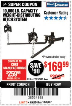 Harbor Freight Coupon 10,000 LB. CAPACITY WEIGHT-DISTRIBUTING HITCH SYSTEM Lot No. 67649 Expired: 10/7/18 - $169.99