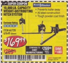Harbor Freight Coupon 10,000 LB. CAPACITY WEIGHT-DISTRIBUTING HITCH SYSTEM Lot No. 67649 Expired: 7/31/19 - $169.99