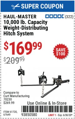 Harbor Freight Coupon 10,000 LB. CAPACITY WEIGHT-DISTRIBUTING HITCH SYSTEM Lot No. 67649/61720 EXPIRES: 6/30/20 - $169.99