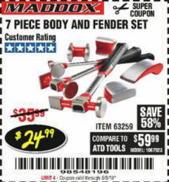 Harbor Freight Coupon 7 PIECE BODY AND FENDER SET Lot No. 63259 EXPIRES: 6/3/19 - $24.99