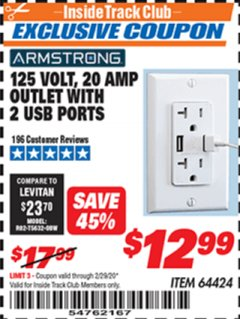 Harbor Freight ITC Coupon 125 VOLT, 20 AMP OUTLET WITH USB PORTS Lot No. 64424 Expired: 2/29/20 - $12.99