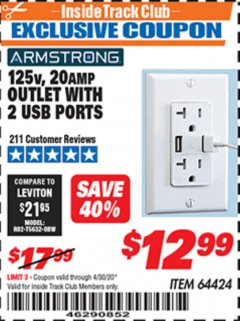 Harbor Freight ITC Coupon 125 VOLT, 20 AMP OUTLET WITH USB PORTS Lot No. 64424 Expired: 4/30/20 - $12.99