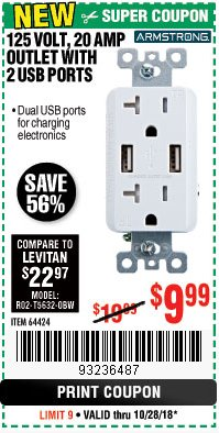 Harbor Freight Coupon 125 VOLT, 20 AMP OUTLET WITH USB PORTS Lot No. 64424 Expired: 10/28/18 - $9.99