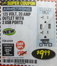 Harbor Freight Coupon 125 VOLT, 20 AMP OUTLET WITH USB PORTS Lot No. 64424 Expired: 12/31/18 - $9.99