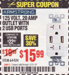Harbor Freight Coupon 125 VOLT, 20 AMP OUTLET WITH USB PORTS Lot No. 64424 Expired: 12/31/18 - $15.99