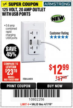 Harbor Freight Coupon 125 VOLT, 20 AMP OUTLET WITH USB PORTS Lot No. 64424 EXPIRES: 6/1/19 - $12.99