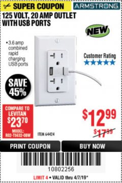 Harbor Freight Coupon 125 VOLT, 20 AMP OUTLET WITH USB PORTS Lot No. 64424 Expired: 4/7/19 - $12.99