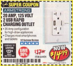 Harbor Freight Coupon 125 VOLT, 20 AMP OUTLET WITH USB PORTS Lot No. 64424 Expired: 11/30/19 - $14.99