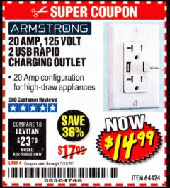 Harbor Freight Coupon 125 VOLT, 20 AMP OUTLET WITH USB PORTS Lot No. 64424 Expired: 3/31/20 - $14.99