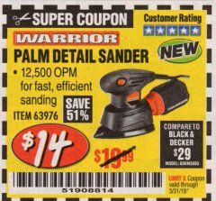 Harbor Freight Coupon WARRIOR PALM DETAIL SANDER Lot No. 63976 Expired: 3/31/19 - $14