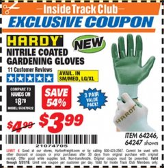 Harbor Freight ITC Coupon NITRILE COASTED GARDENING GLOVES Lot No. 64246/64247 Dates Valid: 5/4/19 - 5/31/19 - $3.99
