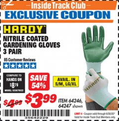 Harbor Freight ITC Coupon NITRILE COASTED GARDENING GLOVES Lot No. 64246/64247 Dates Valid: 12/31/69 - 6/30/20 - $3.99