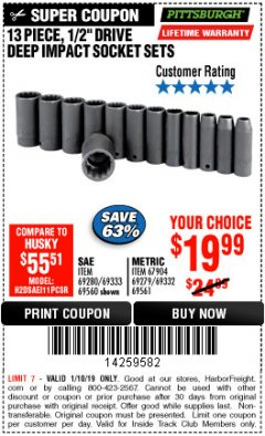 "Harbor Freight ITC Coupon 13 PIECE, 1/2"" DRIVE DEEP IMPACT SOCKETS SETS Lot No. 67903/69280/69333/69560/67904/69279/69332/69561 Expired: 1/10/19 - $19.99"