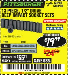 "Harbor Freight Coupon 13 PIECE, 1/2"" DRIVE DEEP IMPACT SOCKETS SETS Lot No. 67903/69280/69333/69560/67904/69279/69332/69561 Expired: 11/26/19 - $19.99"