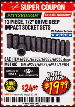 "Harbor Freight Coupon 13 PIECE, 1/2"" DRIVE DEEP IMPACT SOCKETS SETS Lot No. 67903/69280/69333/69560/67904/69279/69332/69561 Expired: 8/31/19 - $19.99"