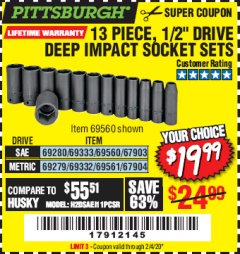 "Harbor Freight Coupon 13 PIECE, 1/2"" DRIVE DEEP IMPACT SOCKETS SETS Lot No. 67903/69280/69333/69560/67904/69279/69332/69561 Expired: 2/4/20 - $19.99"