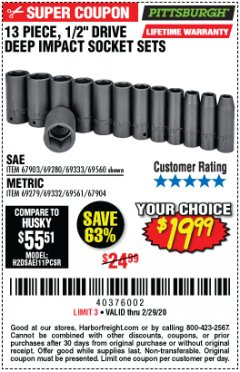 "Harbor Freight Coupon 13 PIECE, 1/2"" DRIVE DEEP IMPACT SOCKETS SETS Lot No. 67903/69280/69333/69560/67904/69279/69332/69561 Expired: 2/29/20 - $19.99"