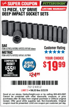 "Harbor Freight Coupon 13 PIECE, 1/2"" DRIVE DEEP IMPACT SOCKETS SETS Lot No. 67903/69280/69333/69560/67904/69279/69332/69561 Expired: 3/22/20 - $19.99"