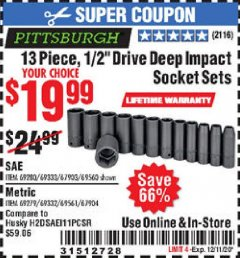"Harbor Freight Coupon 13 PIECE, 1/2"" DRIVE DEEP IMPACT SOCKETS SETS Lot No. 67903/69280/69333/69560/67904/69279/69332/69561 Valid Thru: 12/11/20 - $19.99"