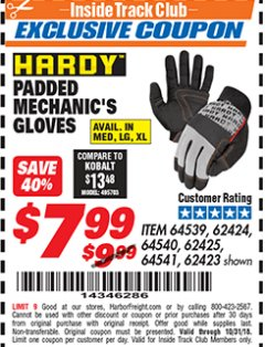 Harbor Freight ITC Coupon HARDY PADDED MECHANIC'S GLOVES Lot No. 64539/62424/64540/62425/64541/62423 Expired: 10/31/18 - $7.99