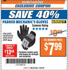 Harbor Freight ITC Coupon HARDY PADDED MECHANIC'S GLOVES Lot No. 64539/62424/64540/62425/64541/62423 Expired: 11/6/18 - $7.99
