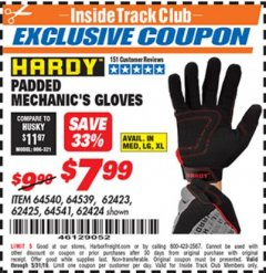 Harbor Freight ITC Coupon HARDY PADDED MECHANIC'S GLOVES Lot No. 64539/62424/64540/62425/64541/62423 Dates Valid: 12/31/69 - 5/31/19 - $7.99