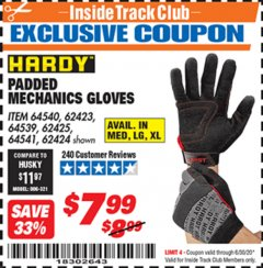 Harbor Freight ITC Coupon HARDY PADDED MECHANIC'S GLOVES Lot No. 64539/62424/64540/62425/64541/62423 Dates Valid: 12/31/69 - 6/30/20 - $7.99