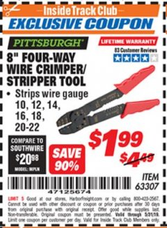 "Harbor Freight ITC Coupon 8"" FOUR-WAY WIRE CRIMPER/STRIPPER TOOL Lot No. 63307 Dates Valid: 5/3/19 - 5/31/19 - $1.99"