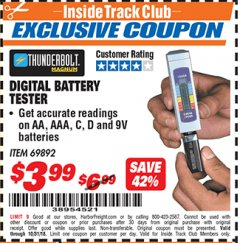 Harbor Freight ITC Coupon DIGITAL BATTERY TESTER Lot No. 69892 Expired: 10/31/18 - $3.99