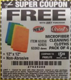 Harbor Freight FREE Coupon MICROFIBER CLEANING CLOTHS PACK OF 4 Lot No. 69678/63358/63363/68440/63925 Expired: 6/1/18 - FWP